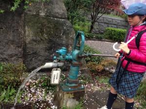 途中の公園にあった井戸。都内では珍しい井戸水を汲んでみるスカウト達