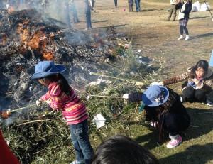 竹の先にお餅や干し芋をつけて、熾火で炙ります