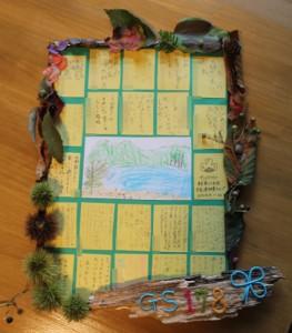 湖を散策した時に拾った木の実や木の葉で飾った記念の盾。全員で書いたコメントカードを貼りました